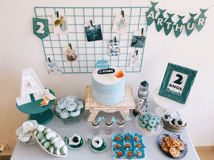 Dessert Tabletop from a Modern Shark + Ocean Party on Kara's Party Ideas | KarasPartyIdeas.com (10)