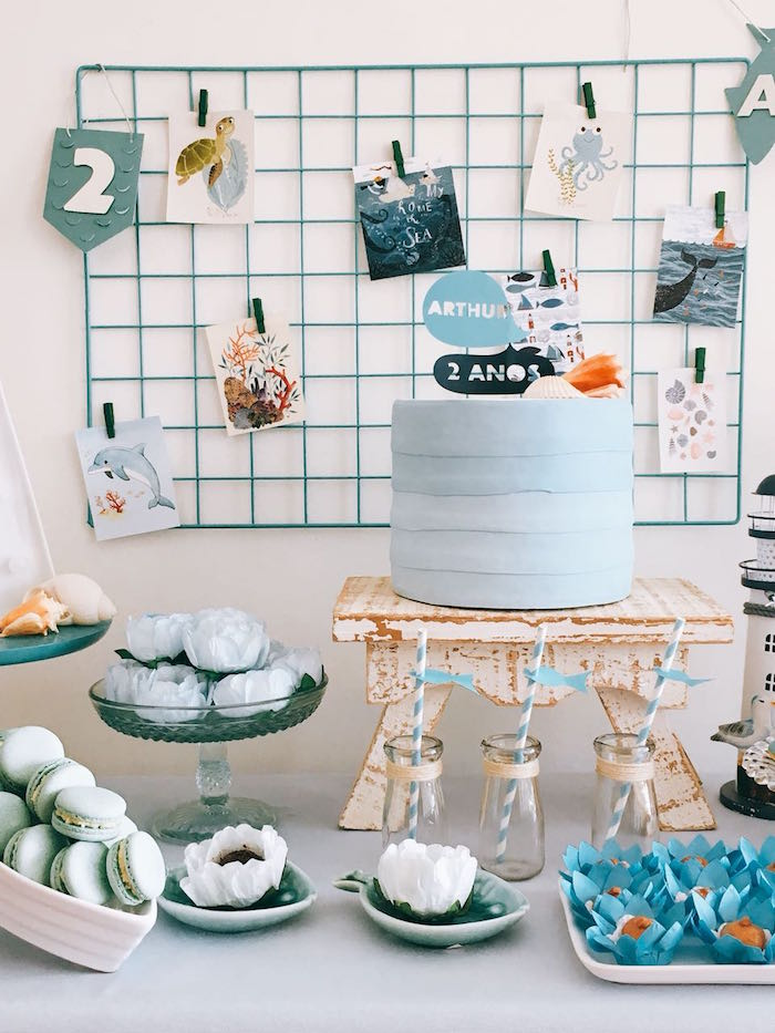 Cake Table from a Modern Shark + Ocean Party on Kara's Party Ideas | KarasPartyIdeas.com (8)