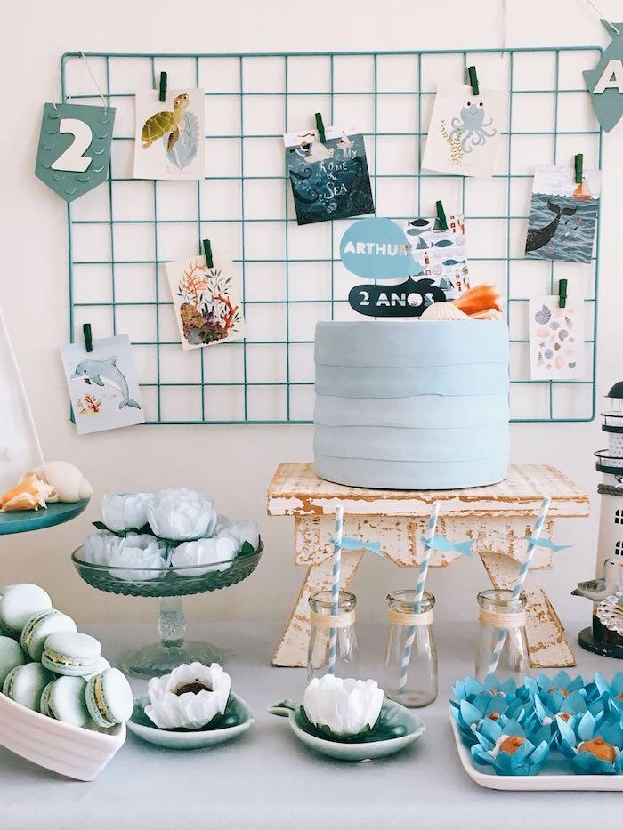 Cake Table from a Modern Shark + Ocean Party on Kara's Party Ideas   KarasPartyIdeas.com (8)