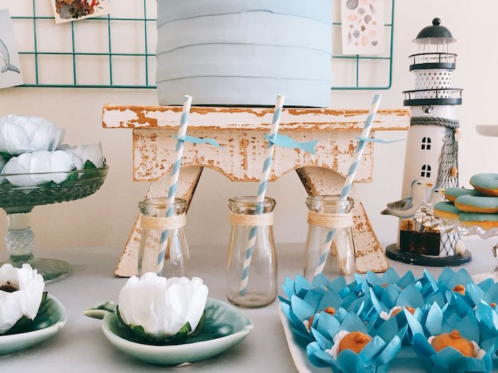 Twine Wrapped Milk Bottles from a Modern Shark + Ocean Party on Kara's Party Ideas | KarasPartyIdeas.com (7)