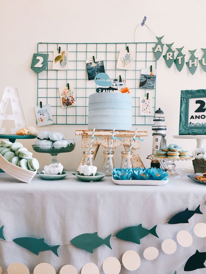 Ocean Themed Dessert Table from a Modern Shark + Ocean Party on Kara's Party Ideas | KarasPartyIdeas.com (21)