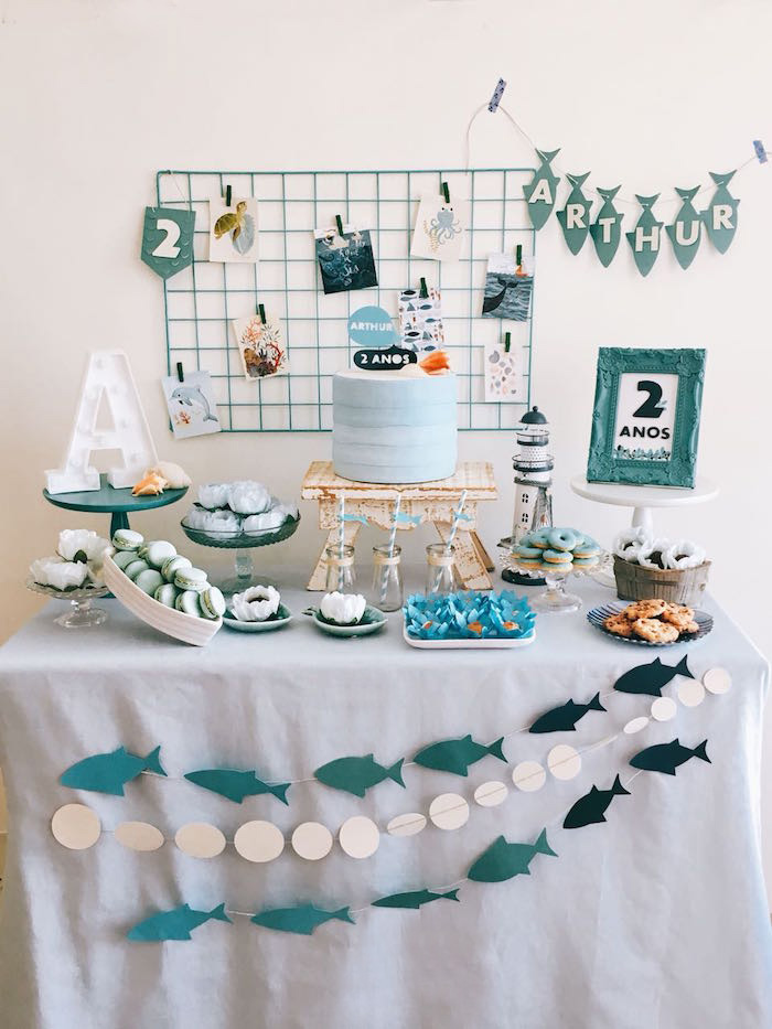 Shark Themed Dessert Table from a Modern Shark + Ocean Party on Kara's Party Ideas | KarasPartyIdeas.com (15)
