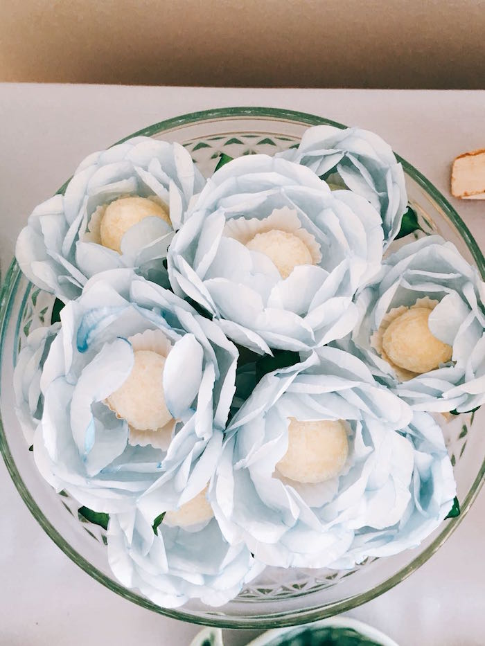 Flower Truffles from a Modern Shark + Ocean Party on Kara's Party Ideas | KarasPartyIdeas.com (14)
