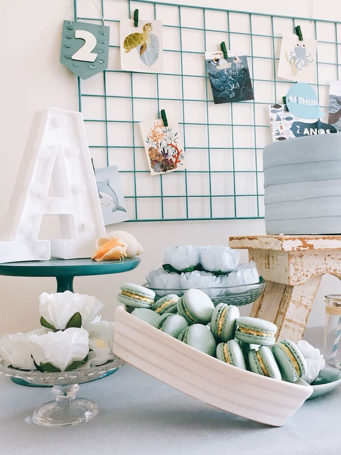 Boat filled with Macarons from a Modern Shark + Ocean Party on Kara's Party Ideas | KarasPartyIdeas.com (13)