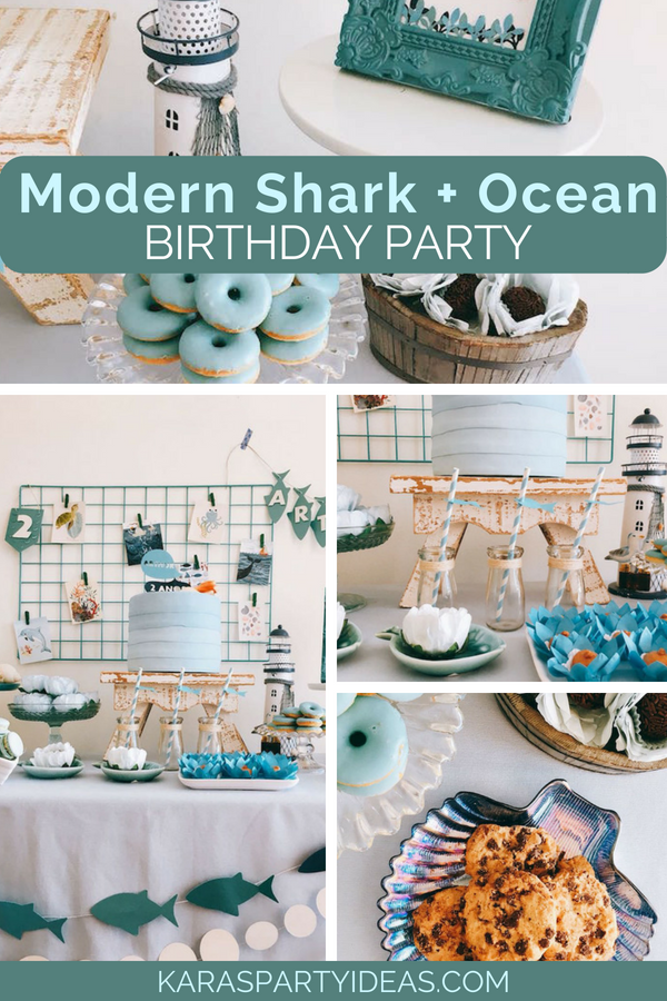Modern Shark + Ocean Party via Kara's Party Ideas - KarasPartyIdeas.com
