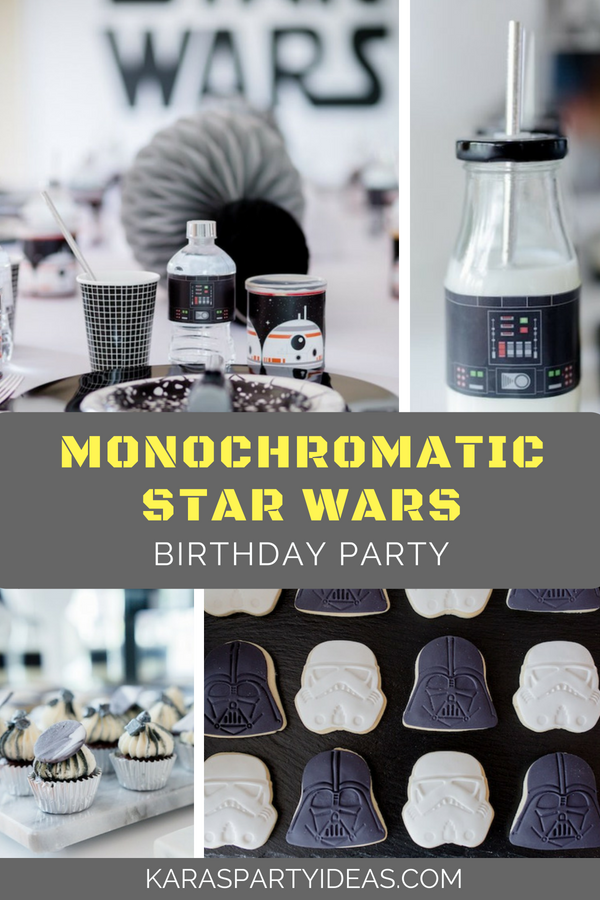 Monochromatic Star Wars Birthday Party via Kara_s Party Ideas - KarasPartyIdeas.com