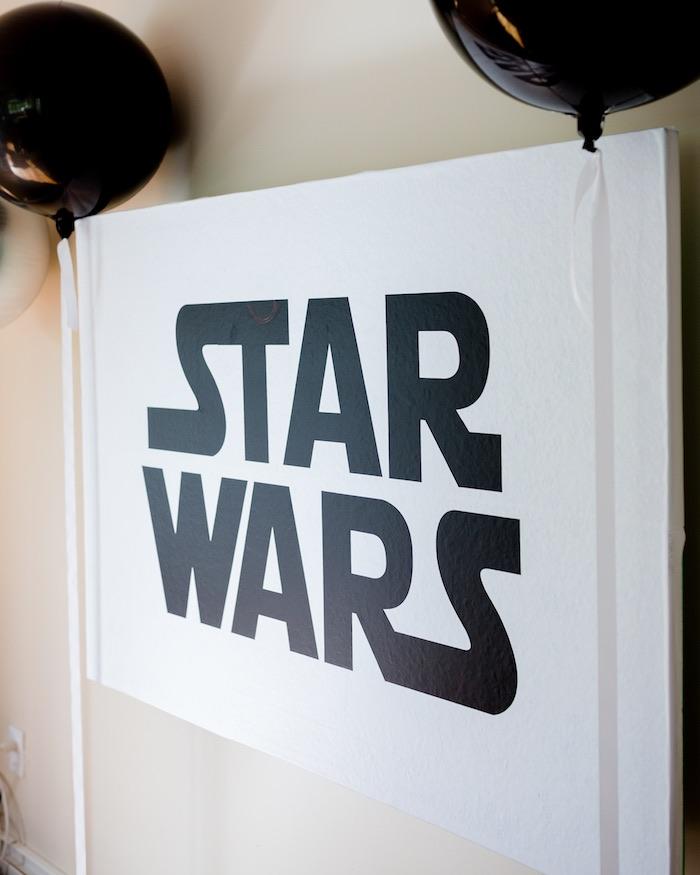 Star Wars Signage from a Monochromatic Star Wars Birthday Party on Kara's Party Ideas | KarasPartyIdeas.com (27)