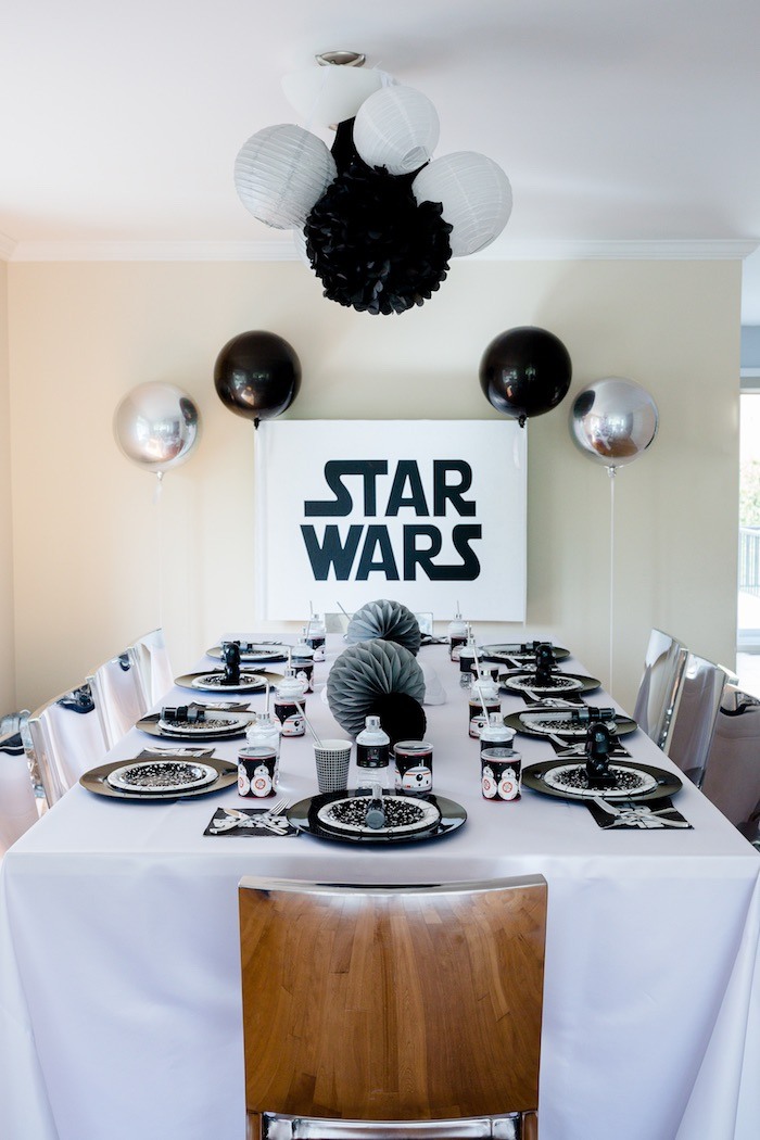 Star Wars Guest Table from a Monochromatic Star Wars Birthday Party on Kara's Party Ideas | KarasPartyIdeas.com (25)