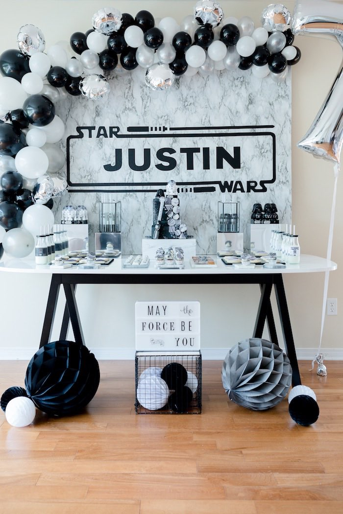 Star Was Sweet Table from a Monochromatic Star Wars Birthday Party on Kara's Party Ideas | KarasPartyIdeas.com (23)