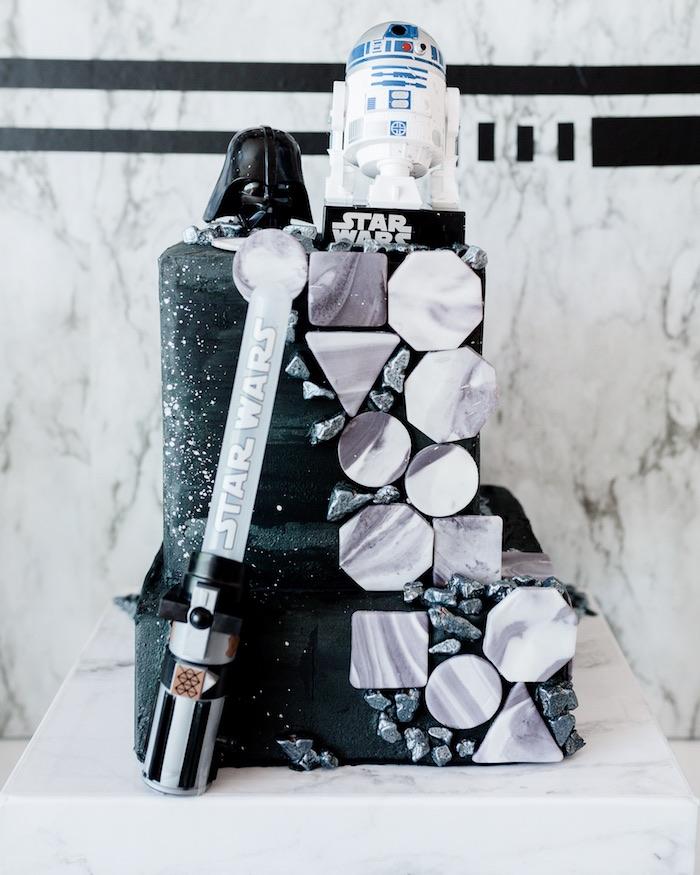 Star Wars Cake from a Monochromatic Star Wars Birthday Party on Kara's Party Ideas | KarasPartyIdeas.com (18)