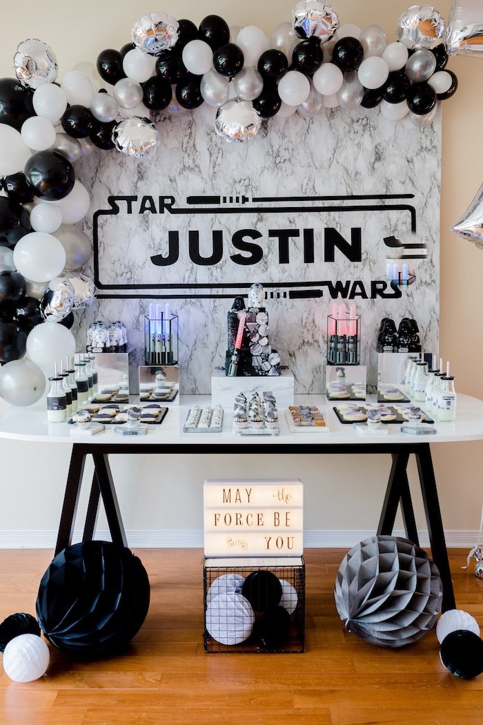 Star Wars Themed Dessert Table From A Monochromatic Birthday Party On Karas Ideas