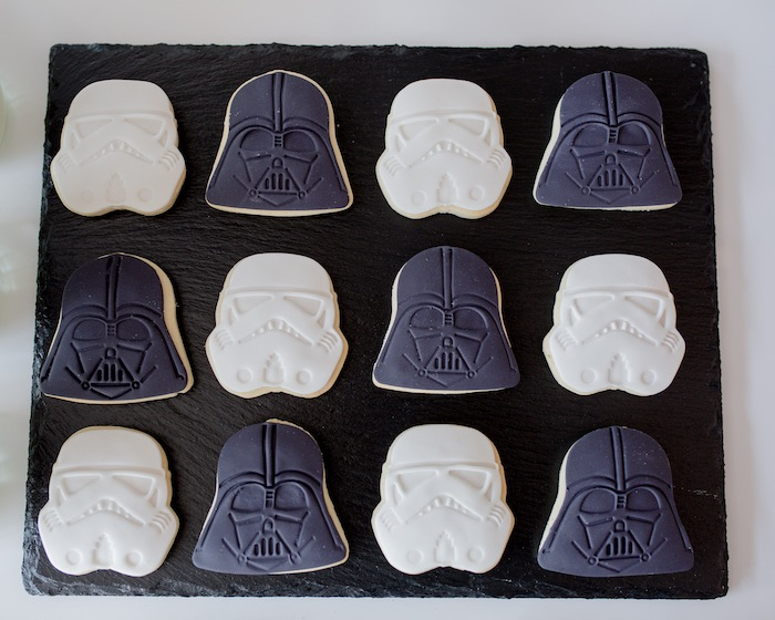 Dark Side - Storm Trooper + Darth Vader Cookies from a Monochromatic Star Wars Birthday Party on Kara's Party Ideas | KarasPartyIdeas.com (14)