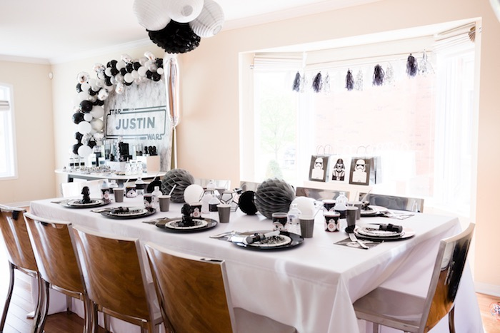 Star Wars-inspired Guest Table from a Monochromatic Star Wars Birthday Party on Kara's Party Ideas | KarasPartyIdeas.com (11)