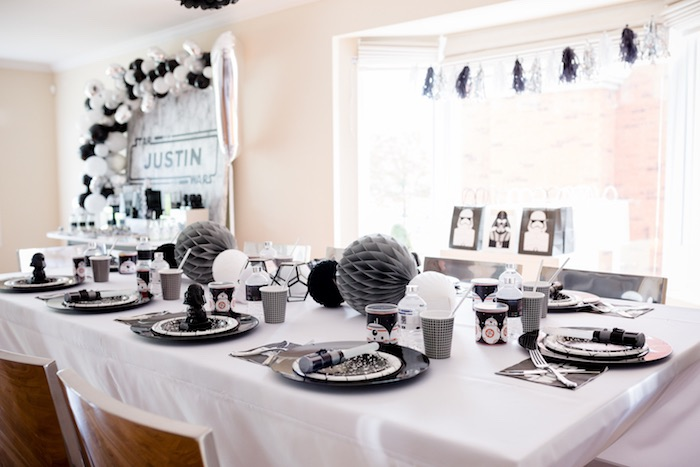 Star Wars Party Guest Table from a Monochromatic Star Wars Birthday Party on Kara's Party Ideas | KarasPartyIdeas.com (10)