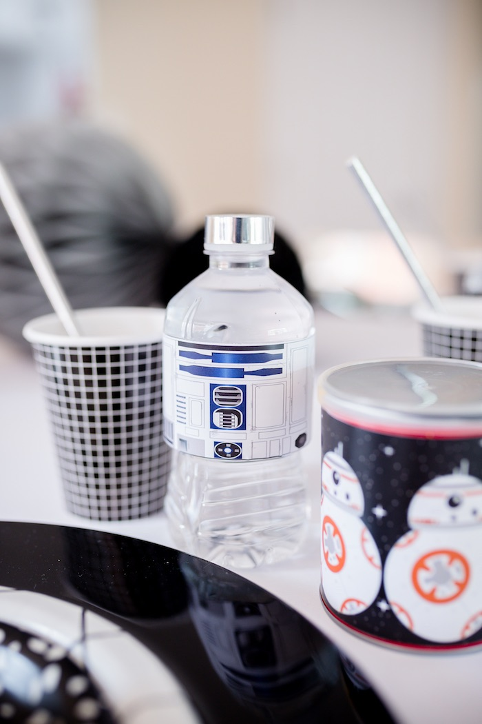 R2-D2 Water Bottle from a Monochromatic Star Wars Birthday Party on Kara's Party Ideas | KarasPartyIdeas.com (9)