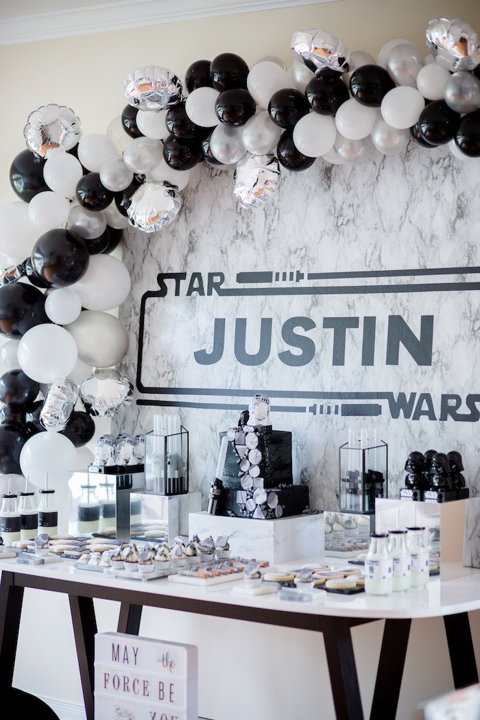 Star Wars Sweet Table from a Monochromatic Star Wars Birthday Party on Kara's Party Ideas | KarasPartyIdeas.com (7)