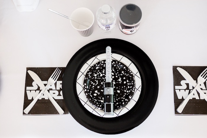 Star Wars Table Setting from a Monochromatic Star Wars Birthday Party on Kara's Party Ideas | KarasPartyIdeas.com (30)