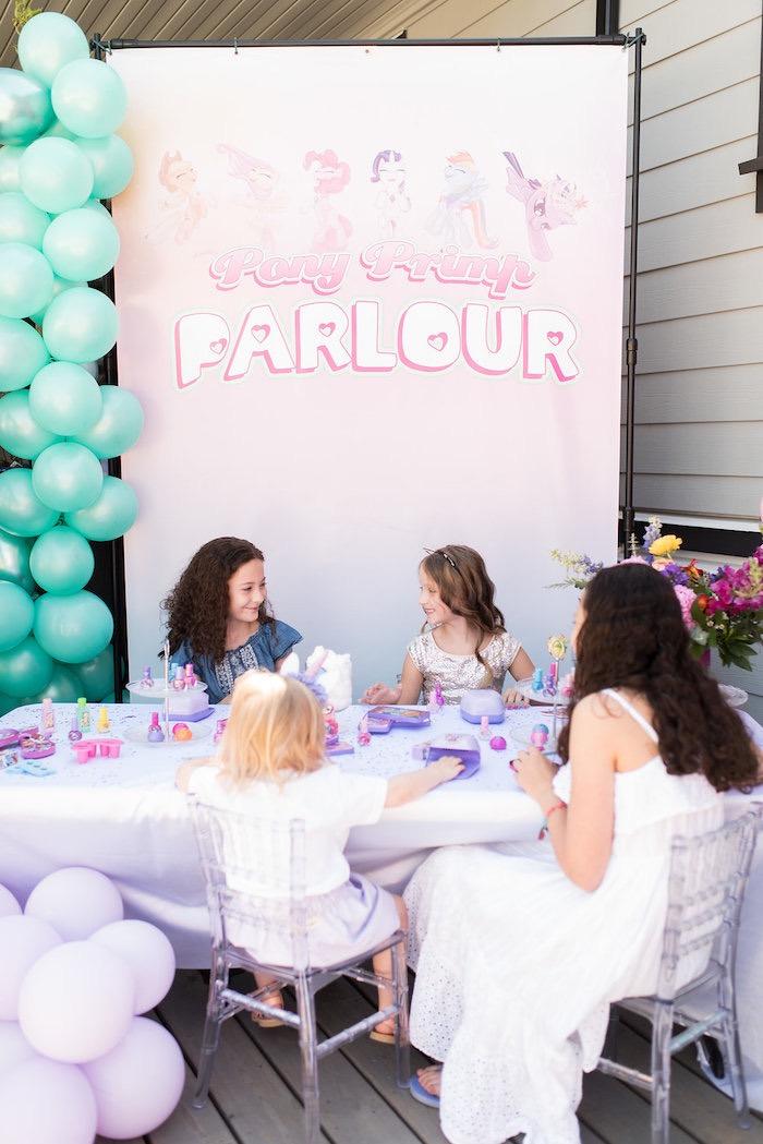 Pony Primp Parlour from a My Little Pony Birthday Party on Kara's Party Ideas | KarasPartyIdeas.com (12)