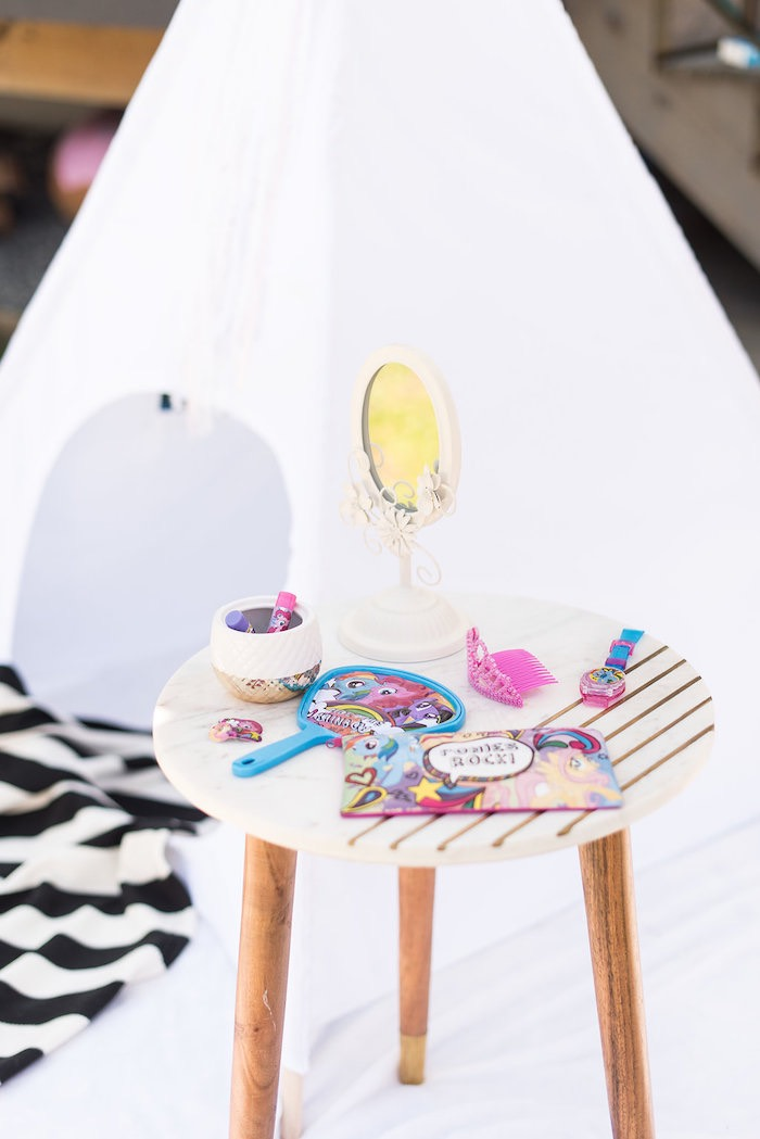 Pony Primping Table from a My Little Pony Birthday Party on Kara's Party Ideas | KarasPartyIdeas.com (7)