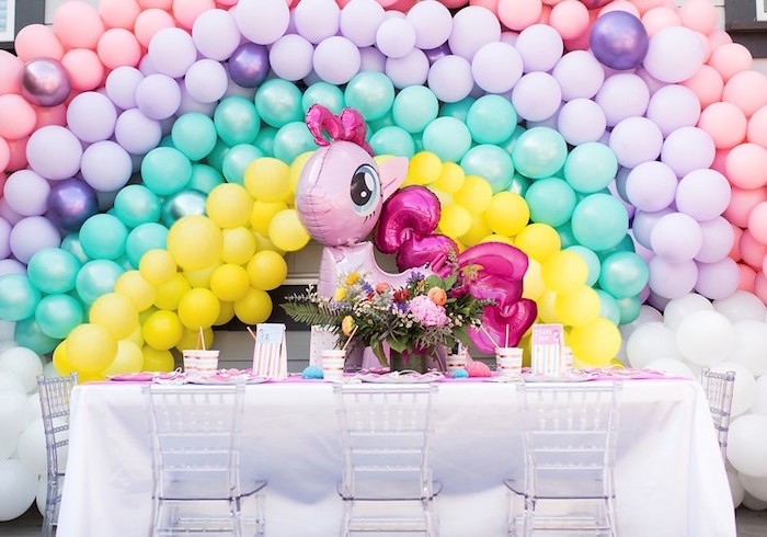 My Little Pony Balloon Party Table from a My Little Pony Birthday Party on Kara's Party Ideas | KarasPartyIdeas.com (6)