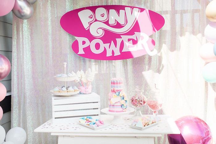 Pony Power Dessert Table from a My Little Pony Birthday Party on Kara's Party Ideas | KarasPartyIdeas.com (18)