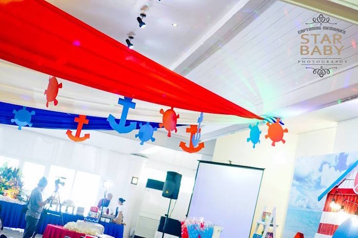 Anchor and Helm Ceiling from a Nautical Birthday Party on Kara's Party Ideas | KarasPartyIdeas.com (27)