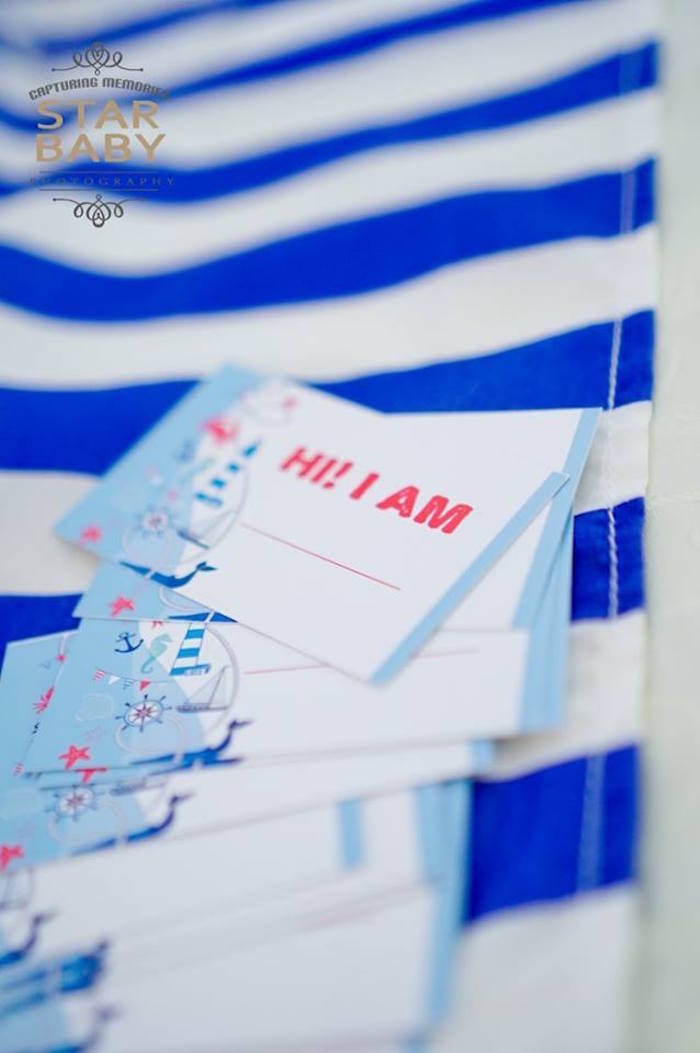 Nautical Name Tag from a Nautical Birthday Party on Kara's Party Ideas | KarasPartyIdeas.com (26)