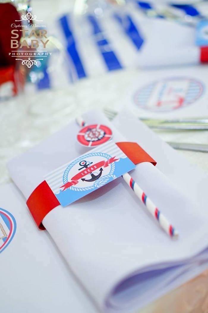 Nautical Napkin Pack from a Nautical Birthday Party on Kara's Party Ideas | KarasPartyIdeas.com (24)