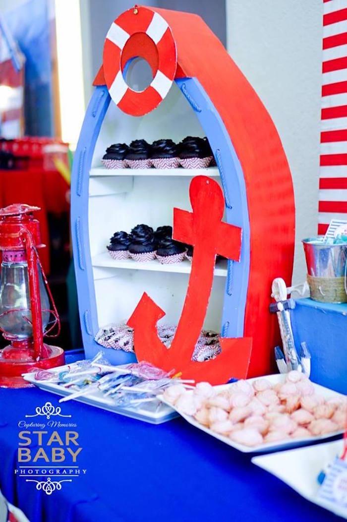 Boat Shaped Dessert Shelf from a Nautical Birthday Party on Kara's Party Ideas | KarasPartyIdeas.com (21)