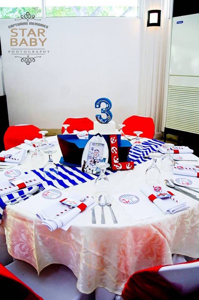 Nautical-inspired Guest Table from a Nautical Birthday Party on Kara's Party Ideas | KarasPartyIdeas.com (17)