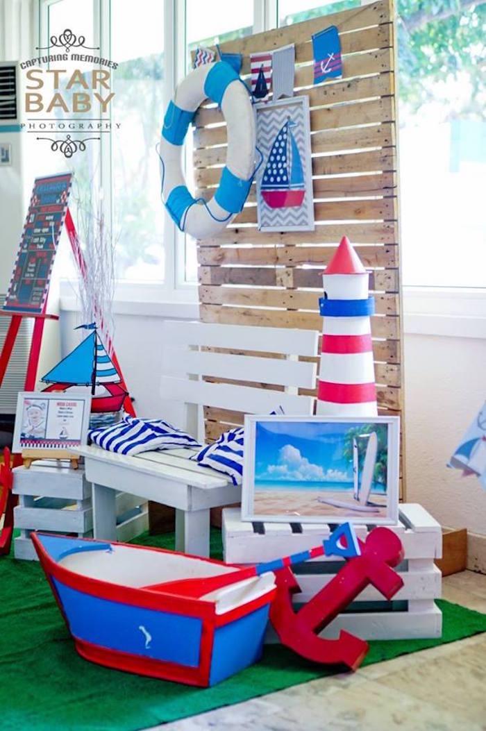 Nautical Lounge from a Nautical Birthday Party on Kara's Party Ideas | KarasPartyIdeas.com (12)