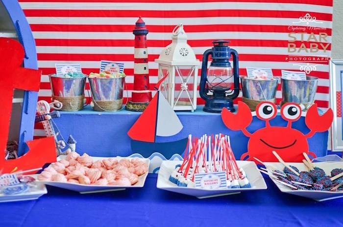 Nautical Dessert Table from a Nautical Birthday Party on Kara's Party Ideas | KarasPartyIdeas.com (11)