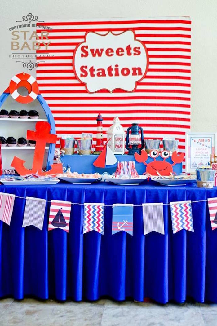 Nautical Sweet Station from a Nautical Birthday Party on Kara's Party Ideas | KarasPartyIdeas.com (10)