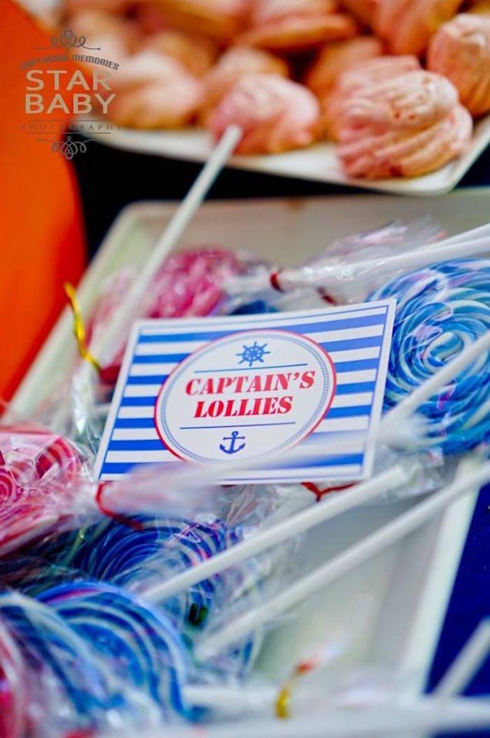Captain's Lollies from a Nautical Birthday Party on Kara's Party Ideas | KarasPartyIdeas.com (9)
