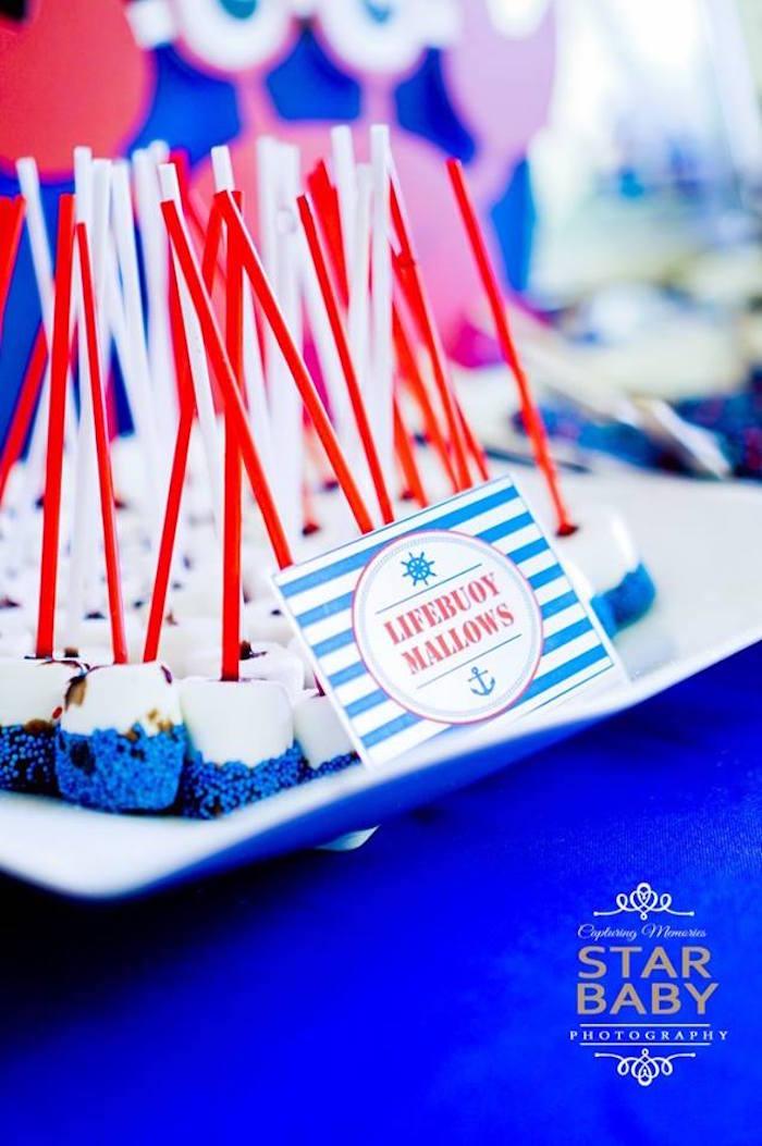 Lifebuoy Mallows from a Nautical Birthday Party on Kara's Party Ideas | KarasPartyIdeas.com (36)
