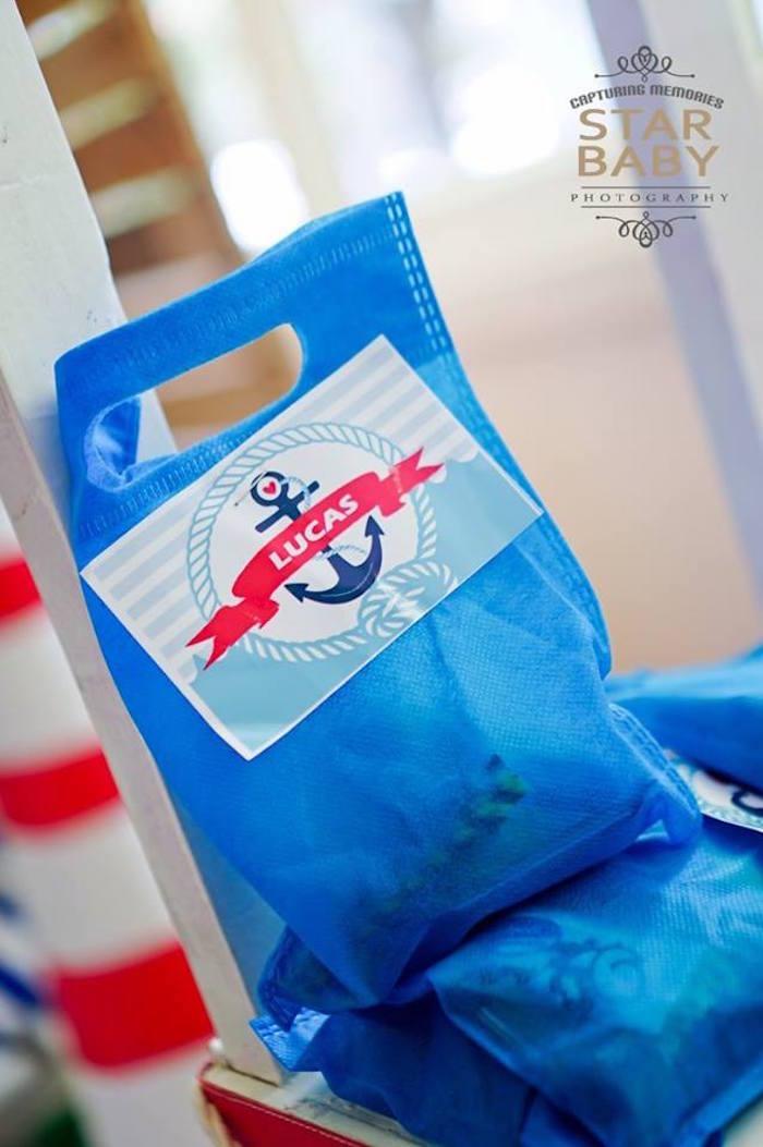 Nautical Favor Bag from a Nautical Birthday Party on Kara's Party Ideas | KarasPartyIdeas.com (8)