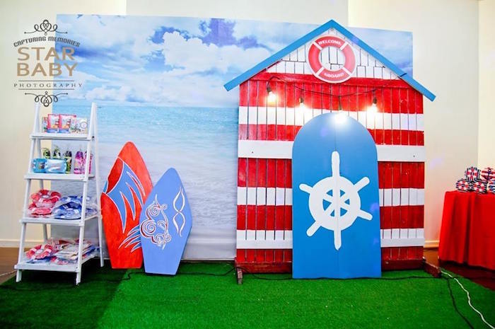 Boat House Backdrop from a Nautical Birthday Party on Kara's Party Ideas | KarasPartyIdeas.com (5)