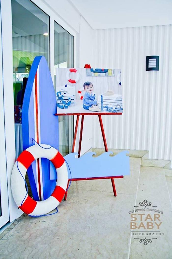 Nautical Wave Photo Board from a Nautical Birthday Party on Kara's Party Ideas | KarasPartyIdeas.com (35)