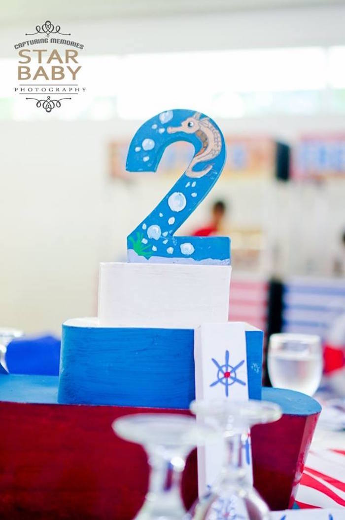 Nautical Table Number + Centerpiece from a Nautical Birthday Party on Kara's Party Ideas | KarasPartyIdeas.com (34)