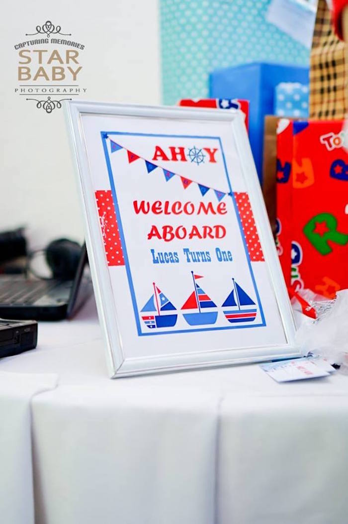Nautical Welcome Signage from a Nautical Birthday Party on Kara's Party Ideas | KarasPartyIdeas.com (33)