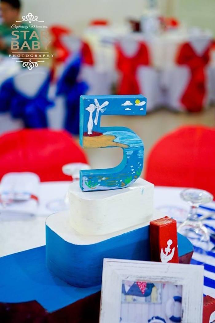 Nautical Table Centerpiece from a Nautical Birthday Party on Kara's Party Ideas | KarasPartyIdeas.com (32)