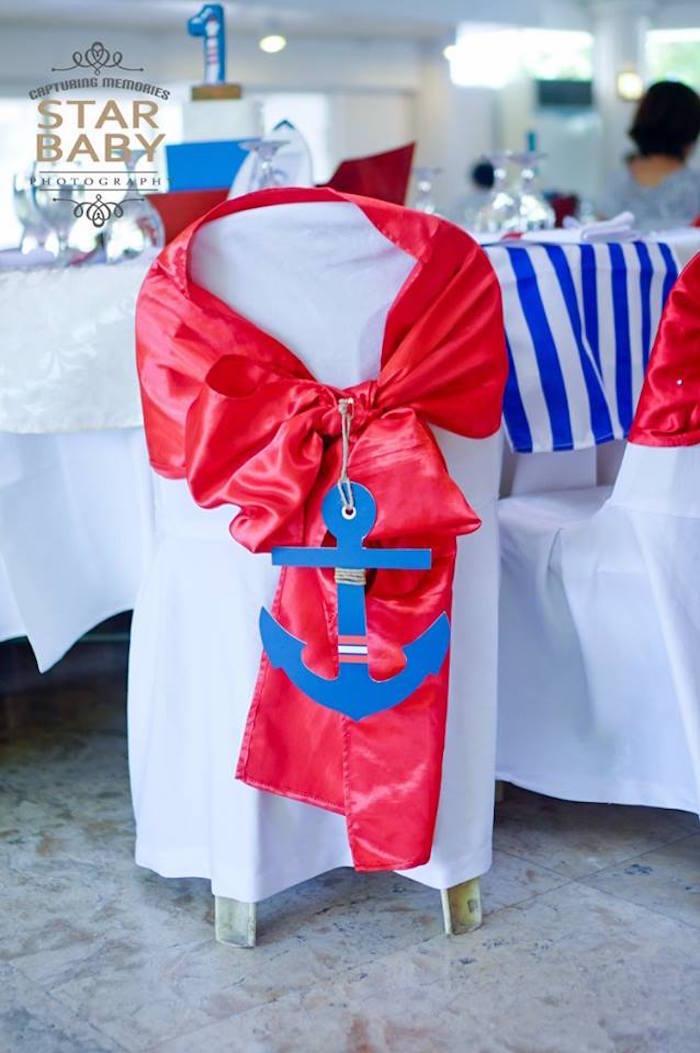 Nautical Anchor Guest Chair Tie from a Nautical Birthday Party on Kara's Party Ideas | KarasPartyIdeas.com (31)