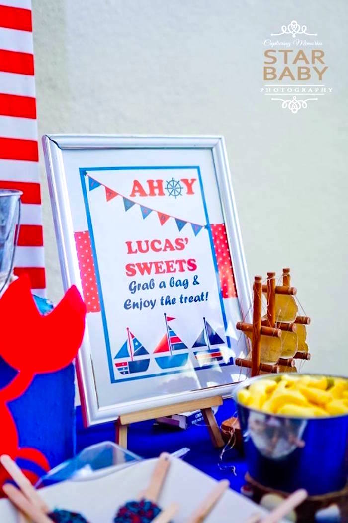 Nautical Sweet Table Signage from a Nautical Birthday Party on Kara's Party Ideas | KarasPartyIdeas.com (30)