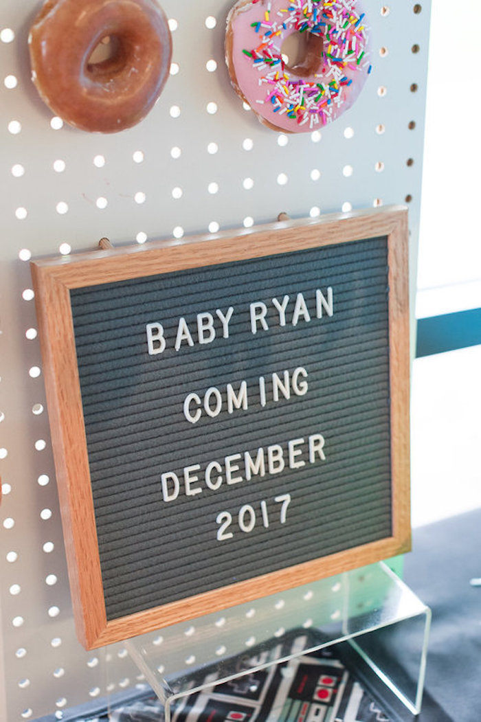 Letterboard Sign from a Nintendo Super Mario Baby Shower on Kara's Party Ideas | KarasPartyIdeas.com (16)