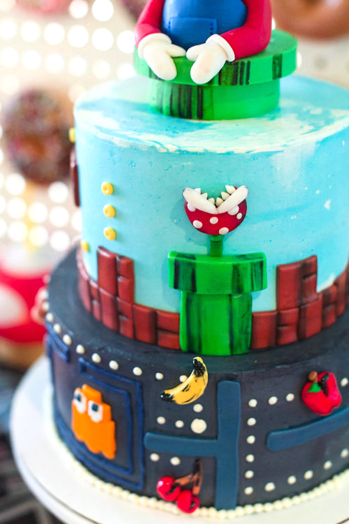 Nintendo Game Cake from a Nintendo Super Mario Baby Shower on Kara's Party Ideas | KarasPartyIdeas.com (15)