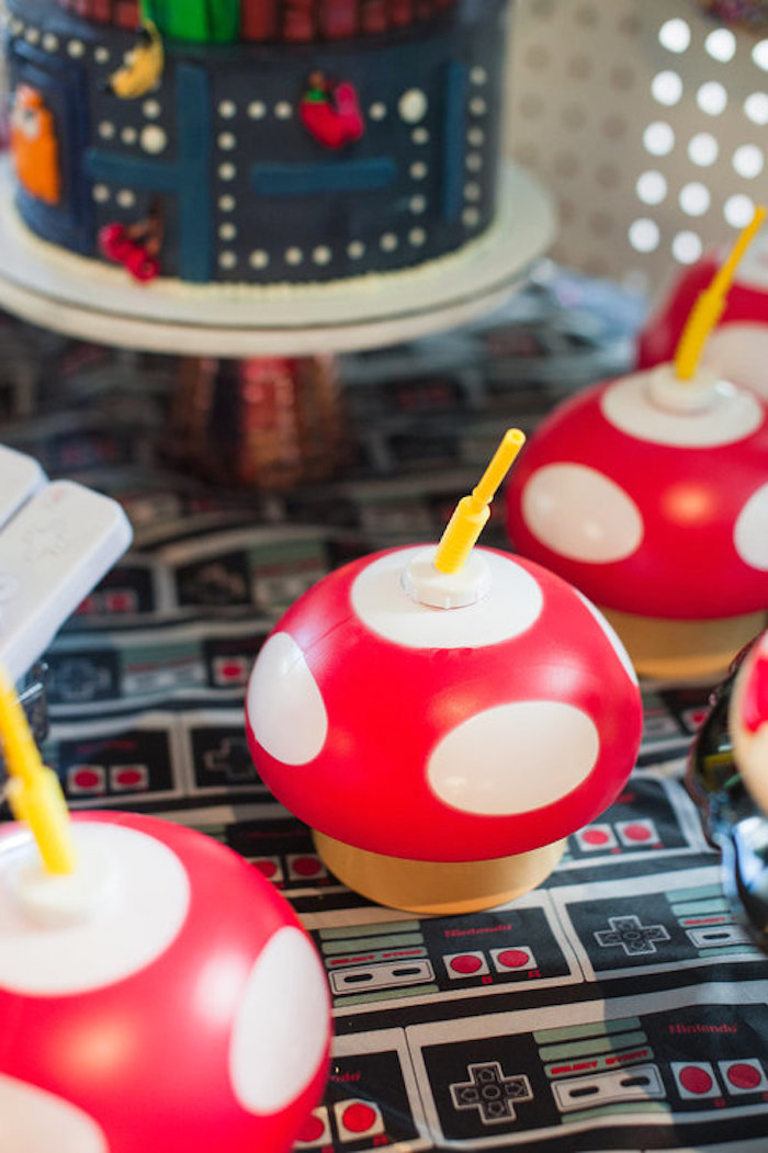 Toadstool Drink Canisters from a Nintendo Super Mario Baby Shower on Kara's Party Ideas | KarasPartyIdeas.com (14)
