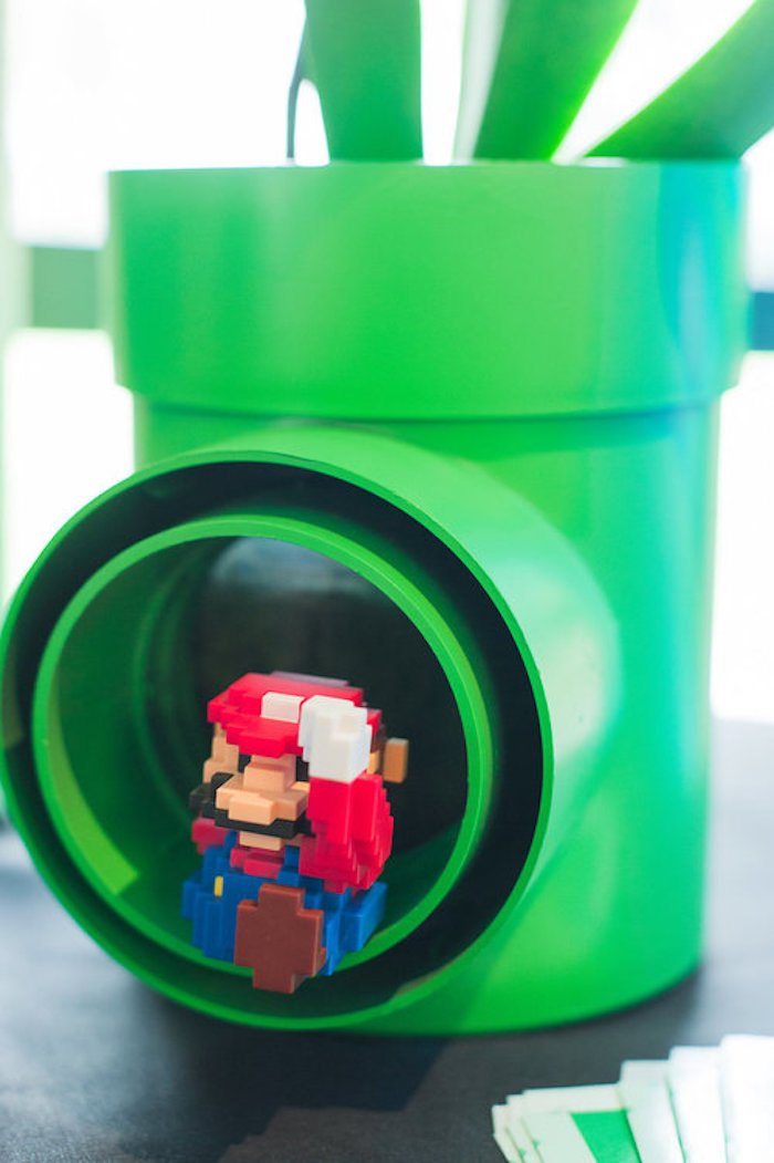 Mario Tube from a Nintendo Super Mario Baby Shower on Kara's Party Ideas | KarasPartyIdeas.com (13)