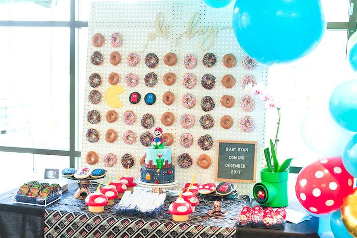 Mario Themed Dessert Table from a Nintendo Super Mario Baby Shower on Kara's Party Ideas | KarasPartyIdeas.com (12)