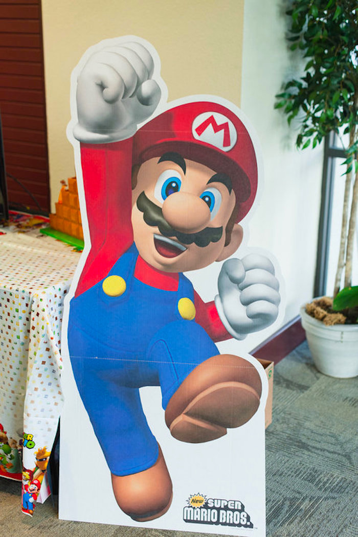 Mario Standee from a Nintendo Super Mario Baby Shower on Kara's Party Ideas | KarasPartyIdeas.com (10)