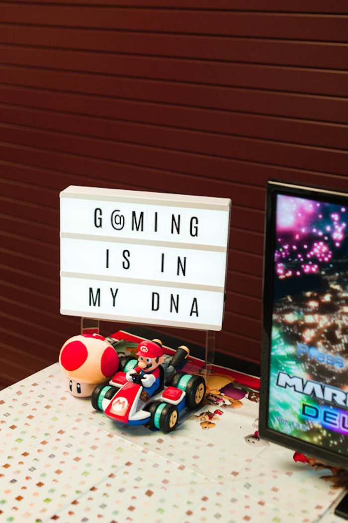 Gaming Lightbox Sign from a Nintendo Super Mario Baby Shower on Kara's Party Ideas | KarasPartyIdeas.com (8)